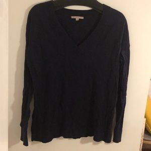 Navy V Neck Knit Sweater